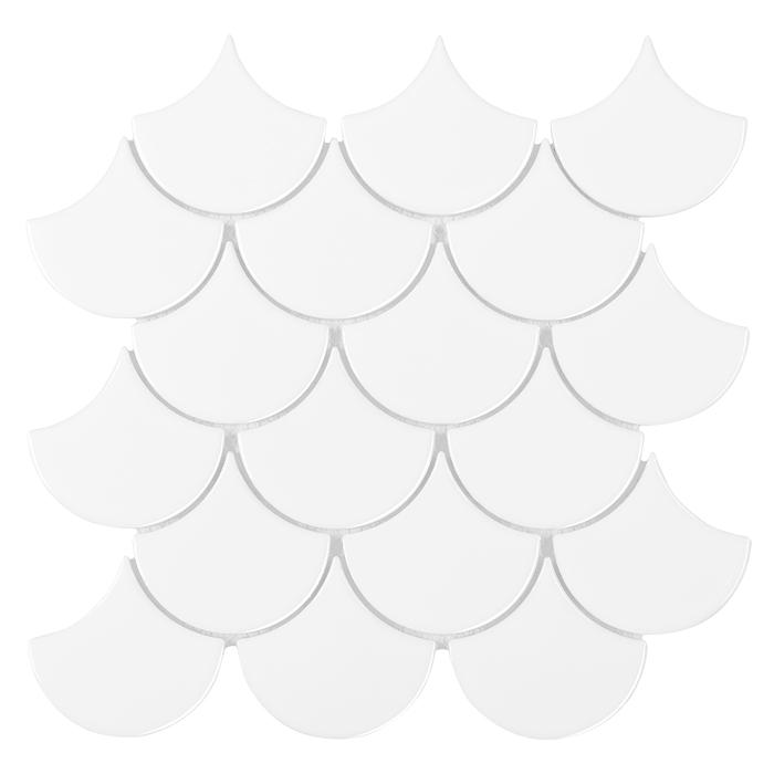 Mozaic ceramic Mini Fish Scale White 88