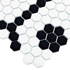 Mozaic ceramic Mini HEXAGON B&W Bee