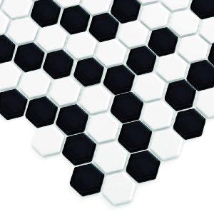 Mozaic ceramic Mini HEXAGON B&W Coral