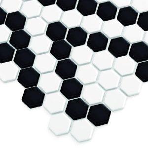 Mozaic ceramic Mini HEXAGON B&W Lace