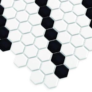 Mozaic ceramic Mini HEXAGON B&W Lean