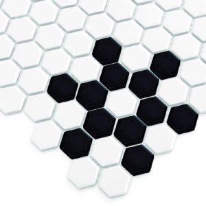 Mozaic ceramic Mini HEXAGON B&W Snow