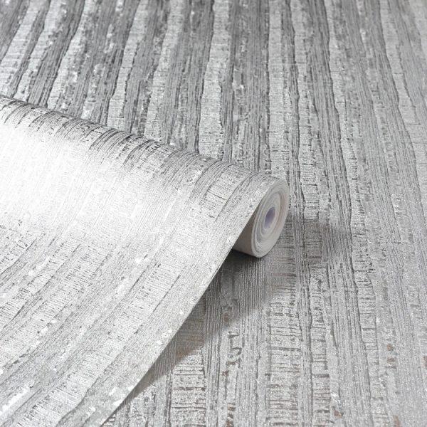 Tapet aspect metalic argintiu Arthouse Luxe Industrial Stripe Silver