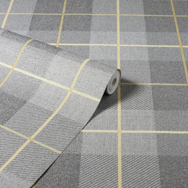 Tapet clasic în stil tartan Heritage Tartan Ochre & Grey
