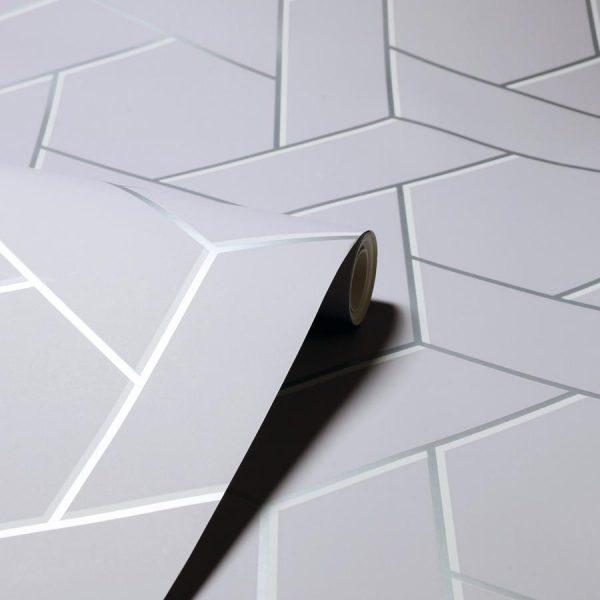 Tapet contemporan cu paralelograme și hexagoane Arthouse Parquet Geo Silver