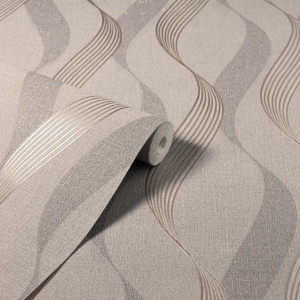 Tapet cu design ondulat Luxe Ribbon Mocha