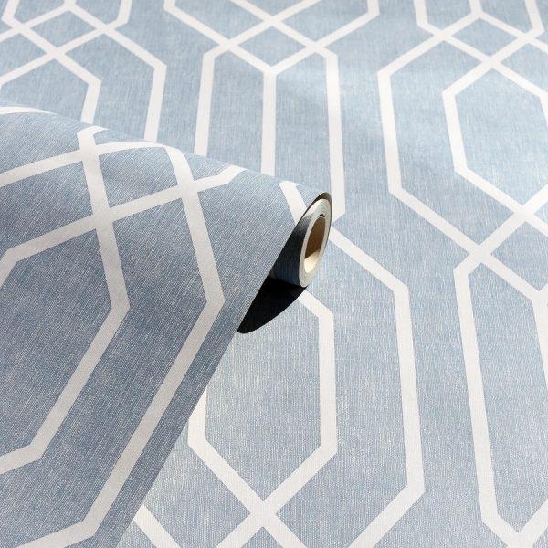Tapet gri bleu cu motive geometrice Arthouse New York Geo Teal