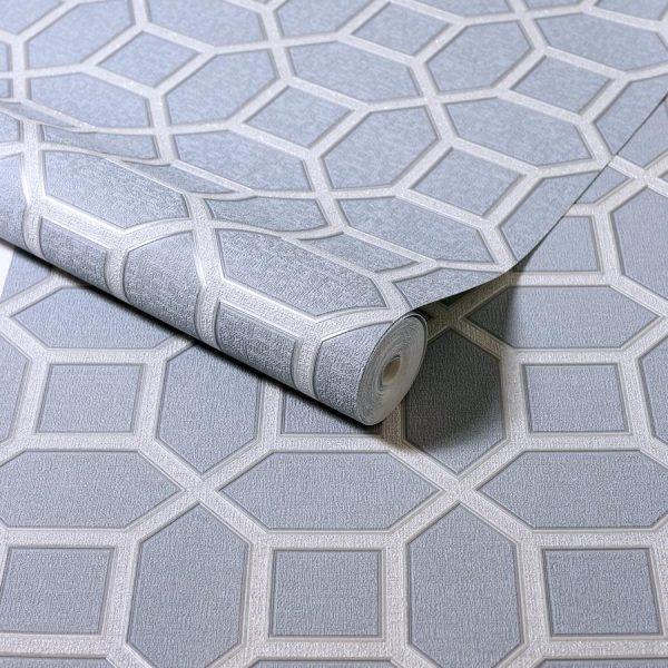 Tapet model hexagonal gri argintiu Luxe Origin Soft Blue