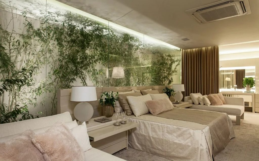 Camera de zi decor de perete cu plante