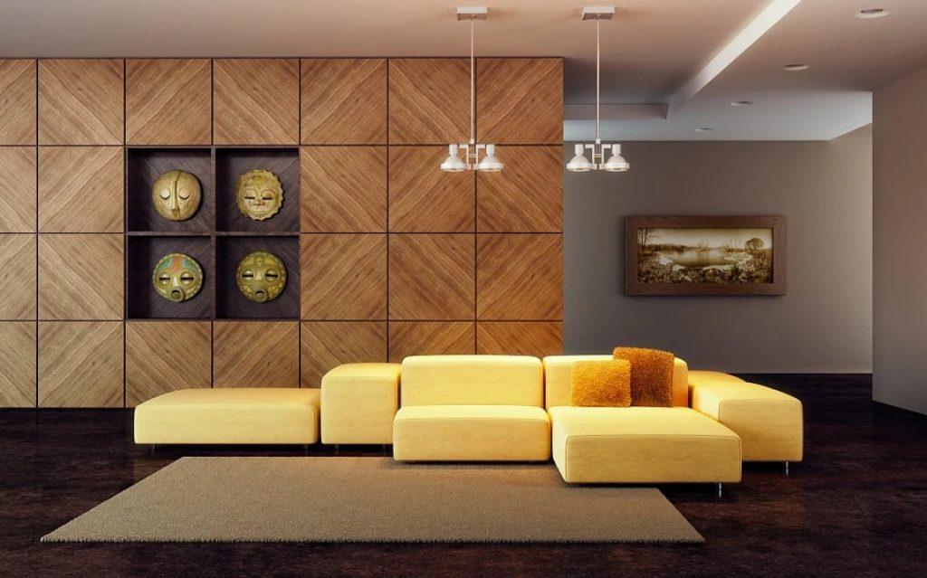 Panouri de perete din lemn în camera de zi